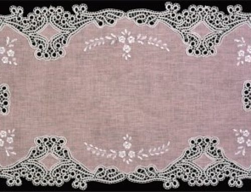Runner with bobbin lace and embroidery on church linen