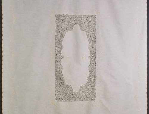Tablecloth with bobbin lace in the center and full embroidery around