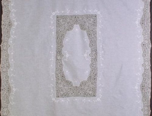 Tablecloth with Venetian bobbin lace inside and outside and embroidery